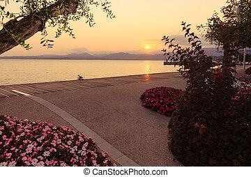美しい, 日没, 湖, イタリア, garda