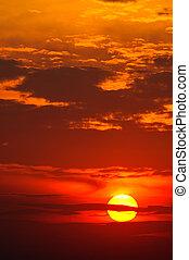 美しい, 日没, 赤
