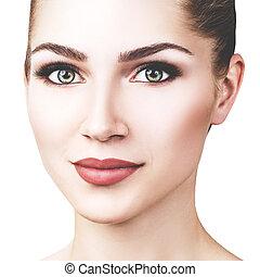 美しい, 明るい, 女, 若い, make-up.