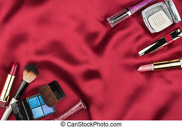 美しい, 映像, サテン, 化粧品, 赤