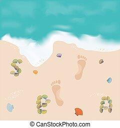 美しい, 映像, 足跡, 砂の 海
