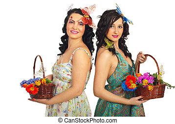 美しい, 春の花, 保有物, 女性