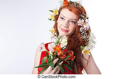 美しい, 春の花, 女性の 肖像画