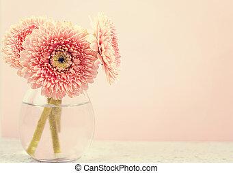 美しい, 春, ピンクの花, 上に, 青, パステル, テーブル, 中に, a, vase., 花, border.