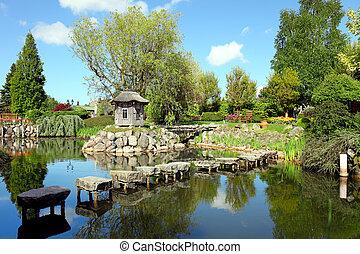 美しい, 春, 光景, 庭の日本人