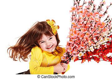 美しい, 春, 女の子, 花, butterfly.