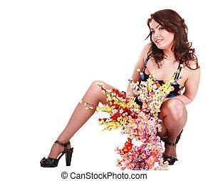 美しい, 春, 女の子, flower.