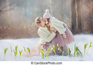 美しい, 春, 娘, 公園, 母