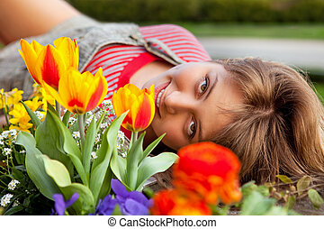 美しい, 春, 肖像画, ∥で∥, チューリップ