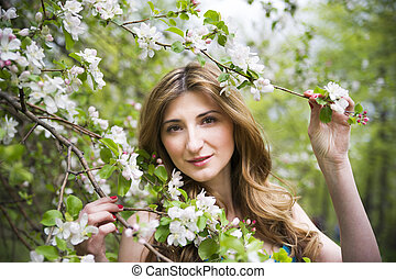 美しい, 春, 若い, 咲く, 女の子, 庭