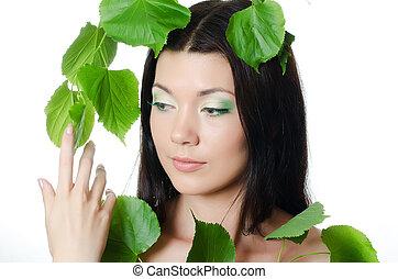 美しい, 春, 葉, 女, 緑