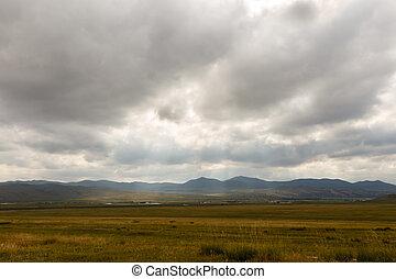 美しい, 景色。, ステップ, mongolian
