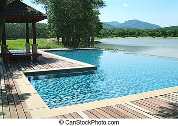 美しい, 景色, プール, 水泳