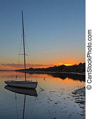美しい, 景色。, ロマンチック, ヨット, 日没, 海, water.