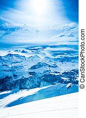 美しい, 景色。, 冬, 山