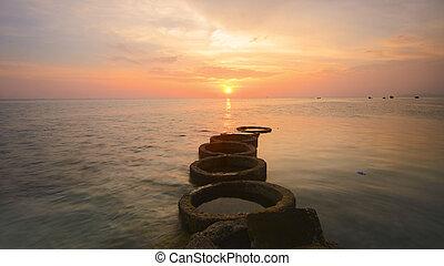 美しい, 景色, 島, mabul, semporna., 日没