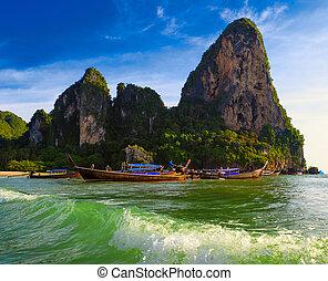 美しい, 景色。, 海, touristic, 自然, トロピカル, コスト, 背景, タイ