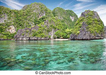 美しい, 景色, palawan, el, フィリピン, nido