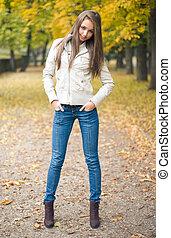 美しい, 服を着せられる, 若い, うすら寒い, モデル, weather.