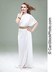 美しい, 服, 古代, 彼女, 身に着けていること, 促される, 長い間, 若い, ギリシャ語, 微笑, スタジオ, 吹く, 白, 女, 肖像画, hair., 風