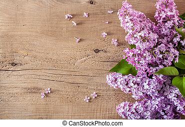 美しい, 木製である, 花, 背景, ライラック