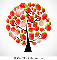 美しい, 木。, いちご, イラスト, ベクトル