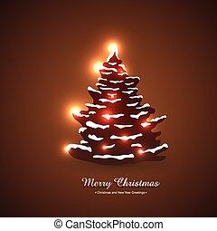 美しい, 木, クリスマス, イラスト