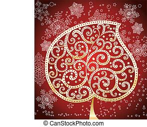美しい, 木, クリスマス, 金