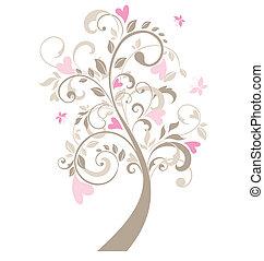 美しい, 木, グリーティングカード