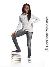 美しい, 本, 黒, 学生, 女の子, 幸せ