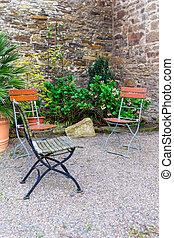 美しい, 椅子, 庭