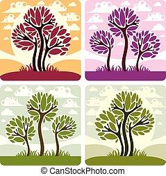 美しい, 植物学, 牧草地, のどかな, 芸術, eco, ばねの時間, 木, イラスト, clouds., 定型, 考え, ベクトル, picture., 季節, 成長する, 要素, 風景