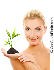 美しい, 植物, 女性の保有物, 若い, ブロンド