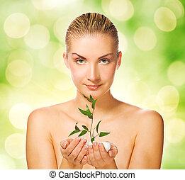 美しい, 植物, 女, 若い, 保有物