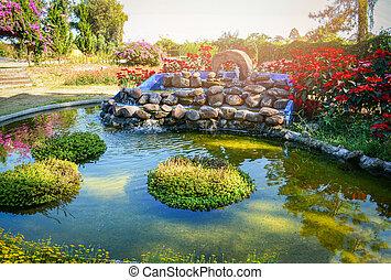 美しい, 植物, 庭, 石, 水, 滝, デザイン, 小さい, 池, 風景