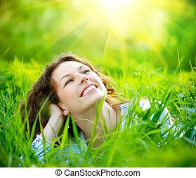 美しい, 楽しみなさい, 女, 自然, 若い, outdoors.
