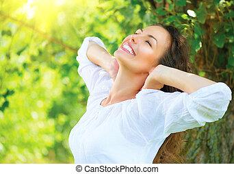 美しい, 楽しみなさい, 女, 自然, outdoor., 若い