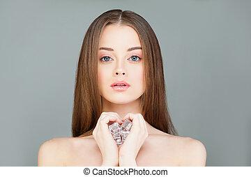 美しい, 概念, 健康, 若い, 氷, 女, 皮膚, エステ, cubes., 女の子, モデル, 心配