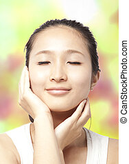 美しい, 概念, 顔, 女, アジア人, スキンケア