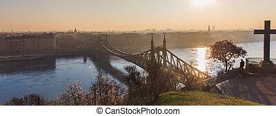 美しい, 橋, ヨーロッパ, 自由, 日の出, ブダペスト, ハンガリー