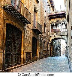 美しい, 橋, 古い, バルセロナ, gothic, カバーされた, 四分の一, スペイン