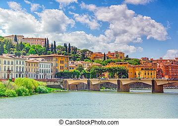 美しい, 橋, alle, フィレンツェ, italy., -, 感謝祭, arno, 銀行, grazie)., 川,...