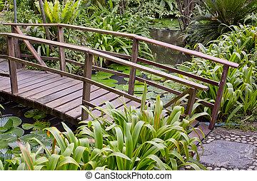美しい, 橋, garden., 木製である