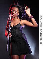 美しい, 歌手, 黒, マイクロフォン, ステージ