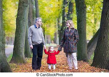 美しい, 歩くこと, 恋人, 公園, 秋, 笑い, 幸せ