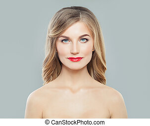 美しい, 毛, ヘアスタイル, 女, 巻き毛, ゆとり, 美容術, skin., 長い間, skincare, 待遇, 波状, 美顔術