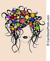 美しい, 毛, 女の子, 花