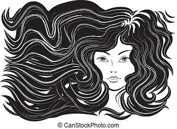 美しい, 毛, 女, 流れること