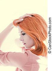 美しい, 毛, 女, 赤