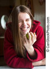 美しい, 毛, 女, apple., 若い, 長い間, 感情的, ジャケット, 手を持つ, 肖像画, 赤